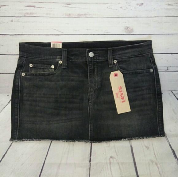 63ce806ac1d8 Levi's Skirts | Levis Frayed Hem Denim Jean Black Mini Skirt | Poshmark